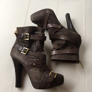 MK suede taupe booties with buckles